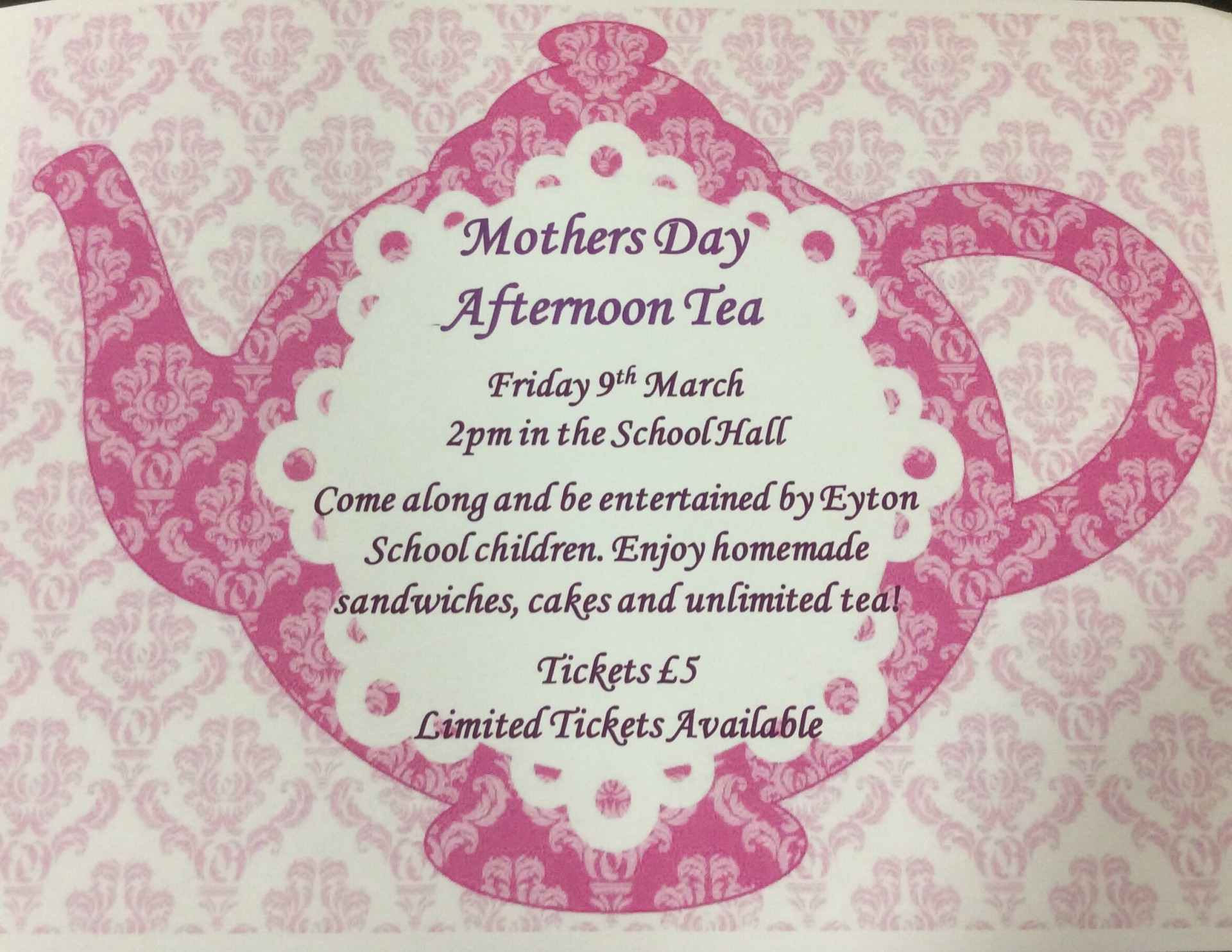 Pta Mothers Day Afternoon Tea Eyton Primary Wrexham